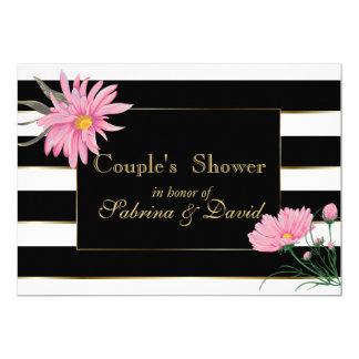 Elegant Black Stripes Pink Floral Couple's  Shower Card