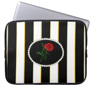 Elegant Black Stripes Sleeve With Red Rose