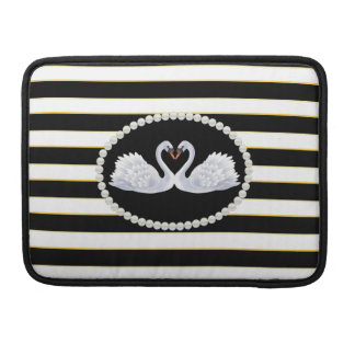 Elegant Black Stripes Swans Macbook Sleeve