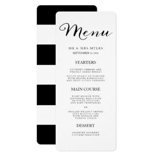 Elegant Black Stripes Wedding Menu Card
