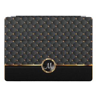 Elegant Black Texture and Gold Pattern - Monogram iPad Pro Cover