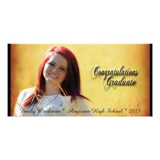 Elegant Black Trim Horizontal Photo Graduation Photo Greeting Card
