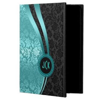 Elegant Black & Turquoise Floral Damasks Monogram