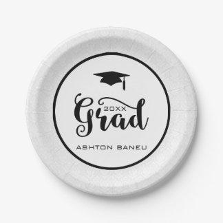 Elegant Black Typography-Graduation 7 Inch Paper Plate