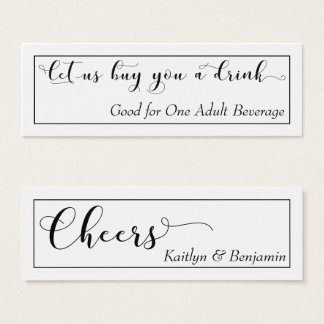 Elegant Black Typography on White Drink Tickets 2