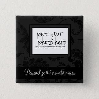 Elegant Black Velvet Style Floral Photo & Text 15 Cm Square Badge