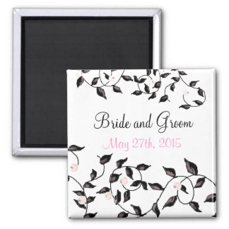 Elegant Black Vines Save the Date Square Magnet