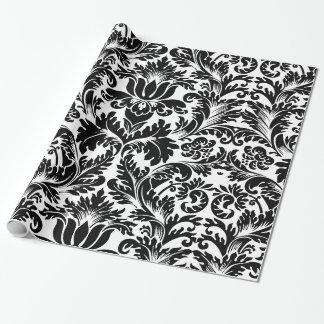 Elegant Black & White Baroque Damasks Pattern Wrapping Paper