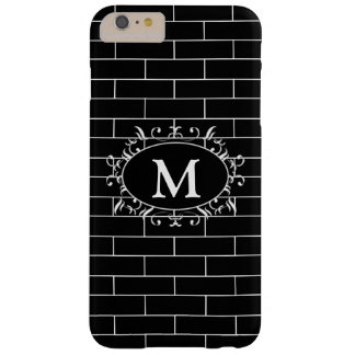 Elegant Black & White Brick Pattern with Monogram Barely There iPhone 6 Plus Case