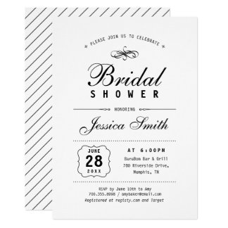 Elegant Black & White Bridal Shower Invitation