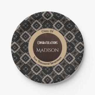 Elegant Black, White & Brown Graduation Paper Plate