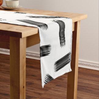 Elegant Black & White Brushstroke Pattern Short Table Runner