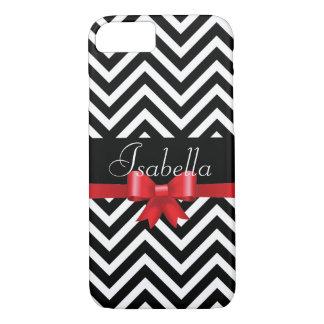 Elegant  Black white chevron red bow monogram iPhone 8/7 Case