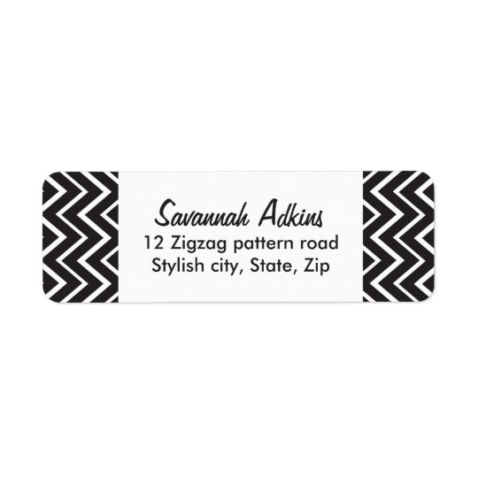 Elegant black white chevron zigzag pattern custom return address label