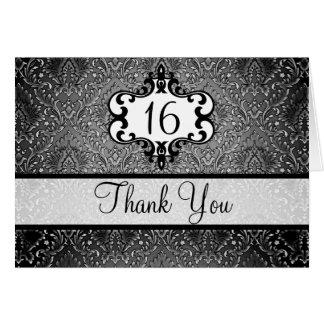 Elegant Black & White Chic Damask Thank You card