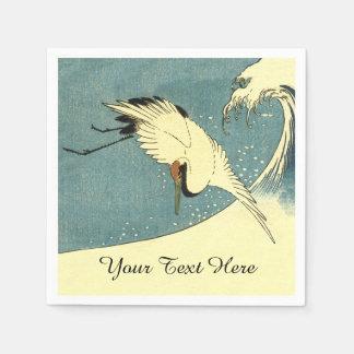 Elegant Black White Crane Flying over Ocean Wave Disposable Serviettes