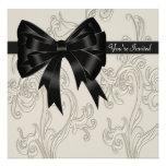Elegant Black White Cream Swirl Party