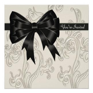 Elegant Black White Cream Swirl Party 13 Cm X 13 Cm Square Invitation Card