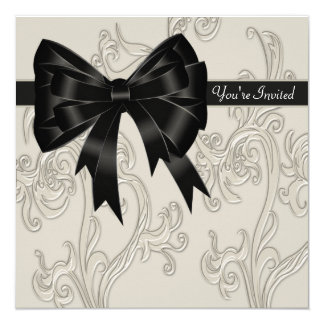 Elegant Black White Cream Swirl Party Card