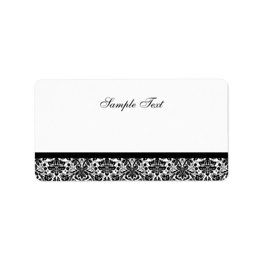 Elegant Black & White Damask Colour Select Label Address Label