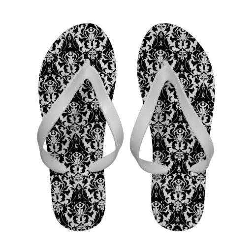 Elegant Black & White Damask Flip-Flops