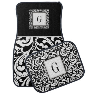 Elegant black, white damask floral monogram car mat