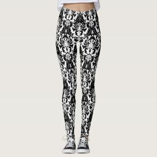 Elegant Black & White Damask Leggings