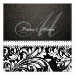Elegant Black & White Damask Monogram Custom Invitation
