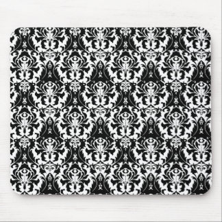 Elegant Black & White Damask Mouse Pad