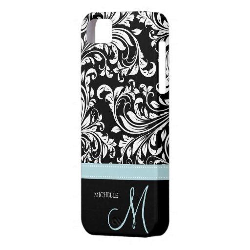 Elegant Black & White Damask Pattern with Monogram iPhone 5 Covers