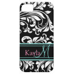 Elegant Black & White Damask Pattern with Monogram Case For The iPhone 5