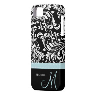Elegant Black & White Damask Pattern with Monogram iPhone 5 Case