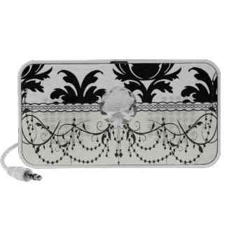 elegant black white damask iPod speakers