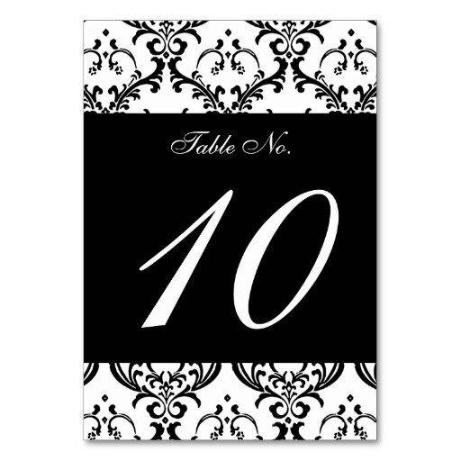 Elegant Black White Damask Wedding Invitation Table Cards