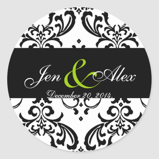 Elegant Black White Damask Wedding Sticker Green