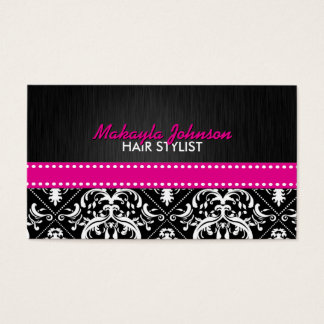 Elegant Black & White Damask with Hot Pink Ribbon Business Card