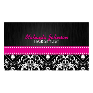 Elegant Black & White Damask with Hot Pink Ribbon Pack Of Standard Business Cards