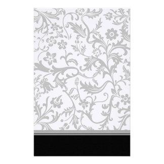 Elegant Black & White Floral Linen Stationery