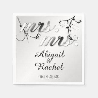 Elegant Black White Floral Mrs Wedding Napkin Paper Napkin