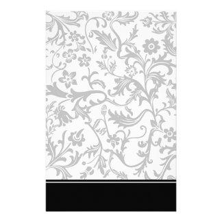 Elegant Black & White Floral Stationery