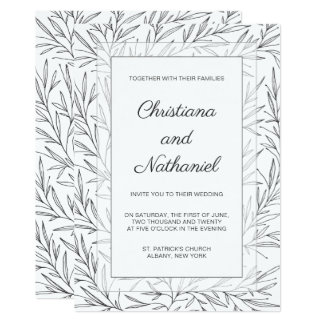 Elegant Black White Floral Wedding Invitation
