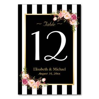 Elegant Black White Floral Wedding Table Number