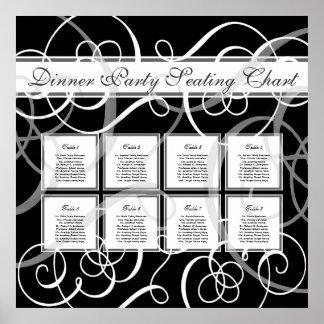 Elegant Black White Formal Wedding Seating Chart Poster