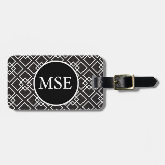 Elegant Black White Geometric Pattern Bag Tag