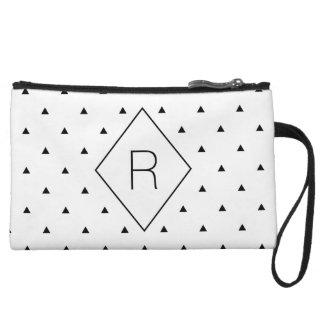 Elegant black white geometric pattern | triangles wristlet