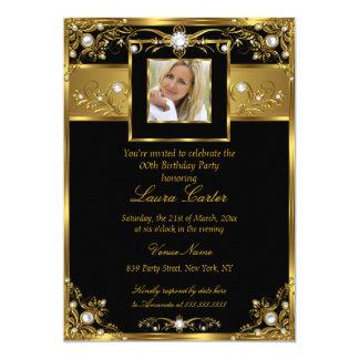 Elegant Black White Gold Pearl Photo Birthday 13 Cm X 18 Cm Invitation Card