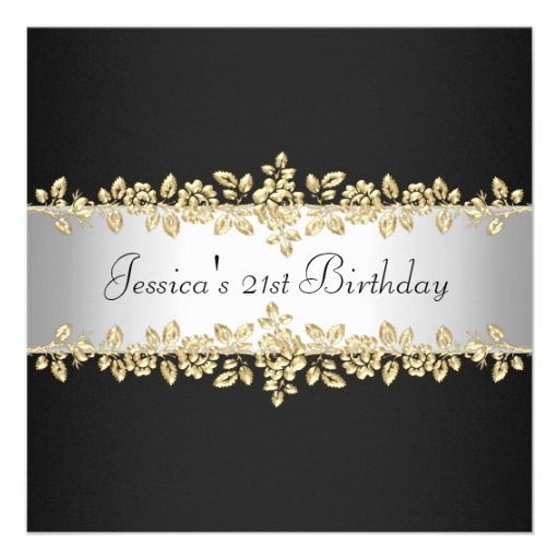 Elegant Black & White Gold Roses Birthday Party Custom Invites