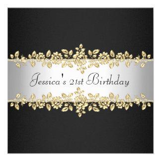 Elegant Black White Gold Roses Birthday Party Custom Invites