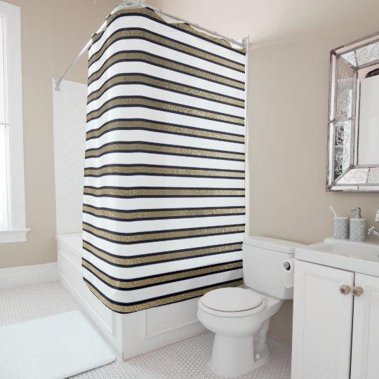 Elegant Black White Gold Sepia Stripes Lines Shower Curtain