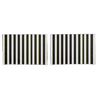 Elegant Black, White Gold Striped Pillow Case Set